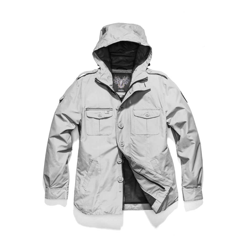 Men's hooded shirt jacket with patch chest pockets in Light Grey