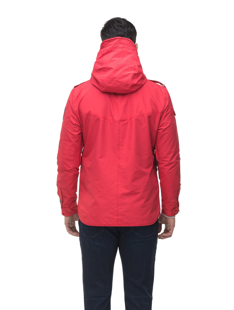 Men's hooded shirt jacket with patch chest pockets in Red, Light Grey, Black, or Fatigue