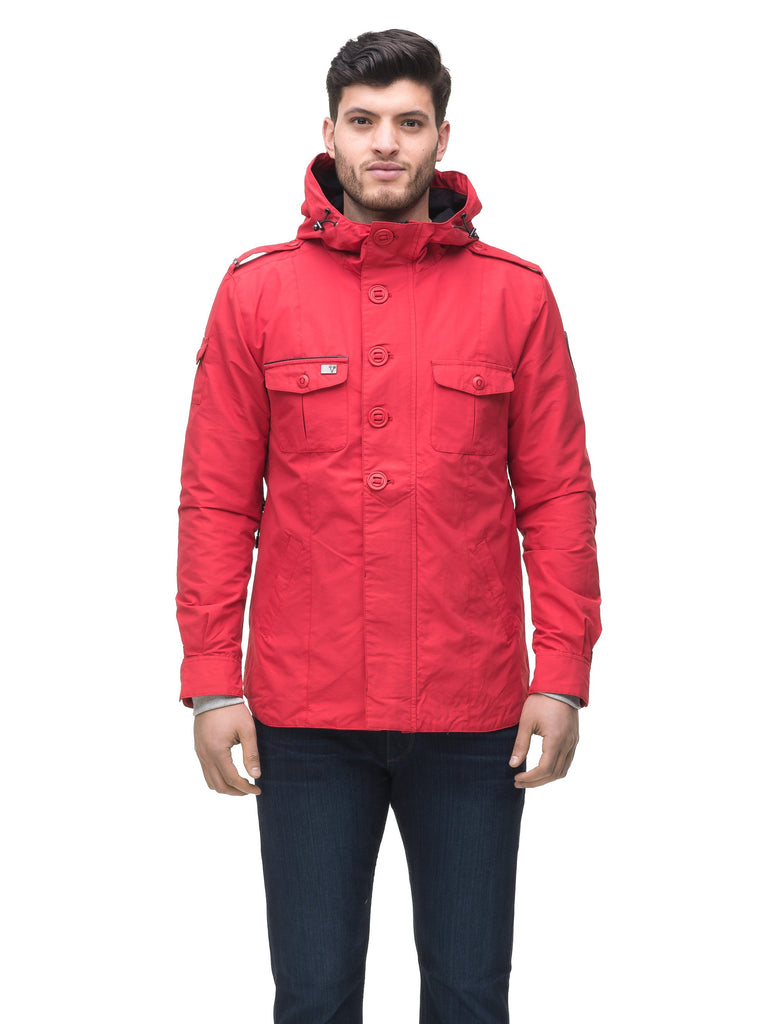 Men's hooded shirt jacket with patch chest pockets in Red
