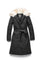 Women's lightweight down filled parka with a removable fur collar and a washable, Japanese DWR Leather belt in H. Black