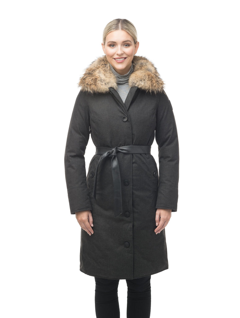 Women's lightweight down filled parka with a removable fur collar and a washable, Japanese DWR Leather belt in H. Charcoal