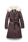 Women's lightweight down filled parka with a removable fur collar and a washable, Japanese DWR Leather belt in H. Burgundy