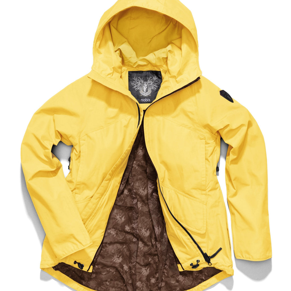 Women's hooded rain jacket with high low hem in Citron