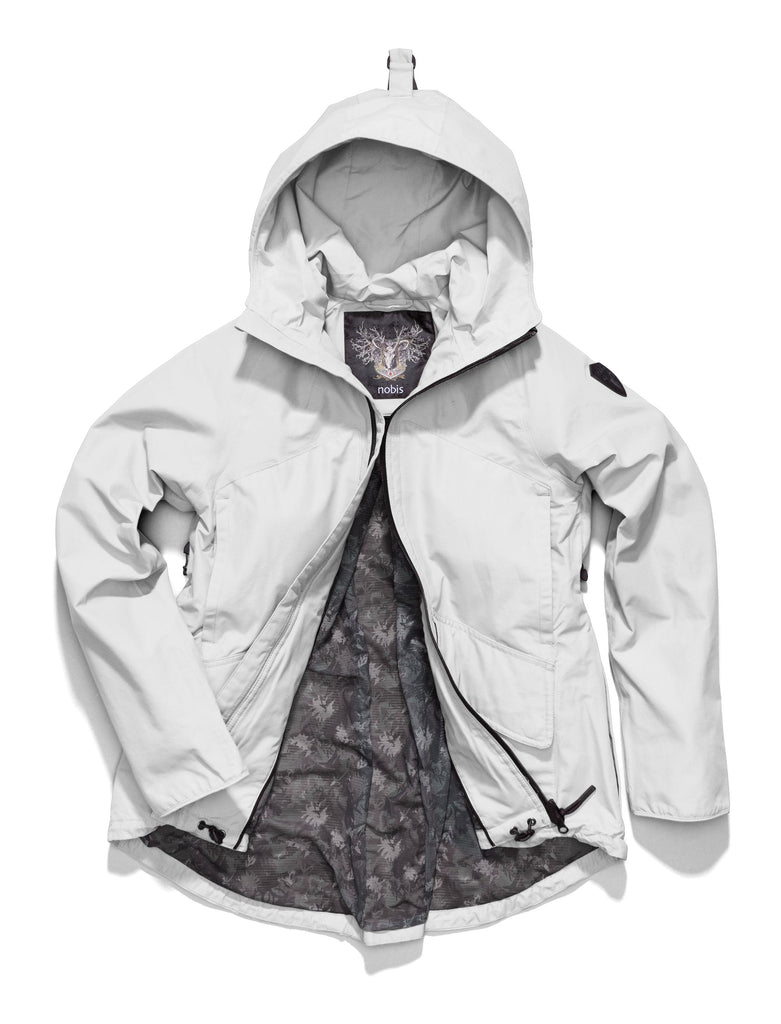 Women's hooded rain jacket with high low hem in Light Grey
