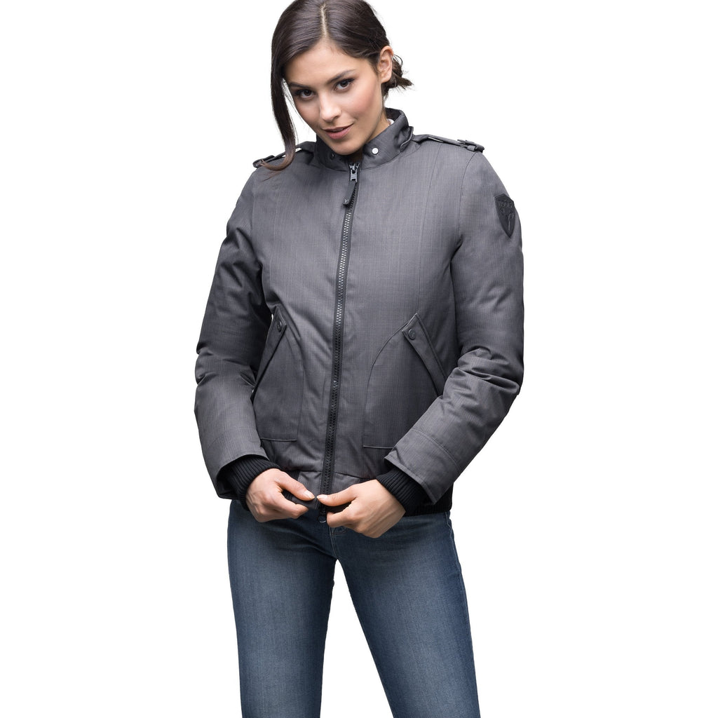 Women's bomber style down filled jacket with a removable hood and fur trim in CH Steel Grey