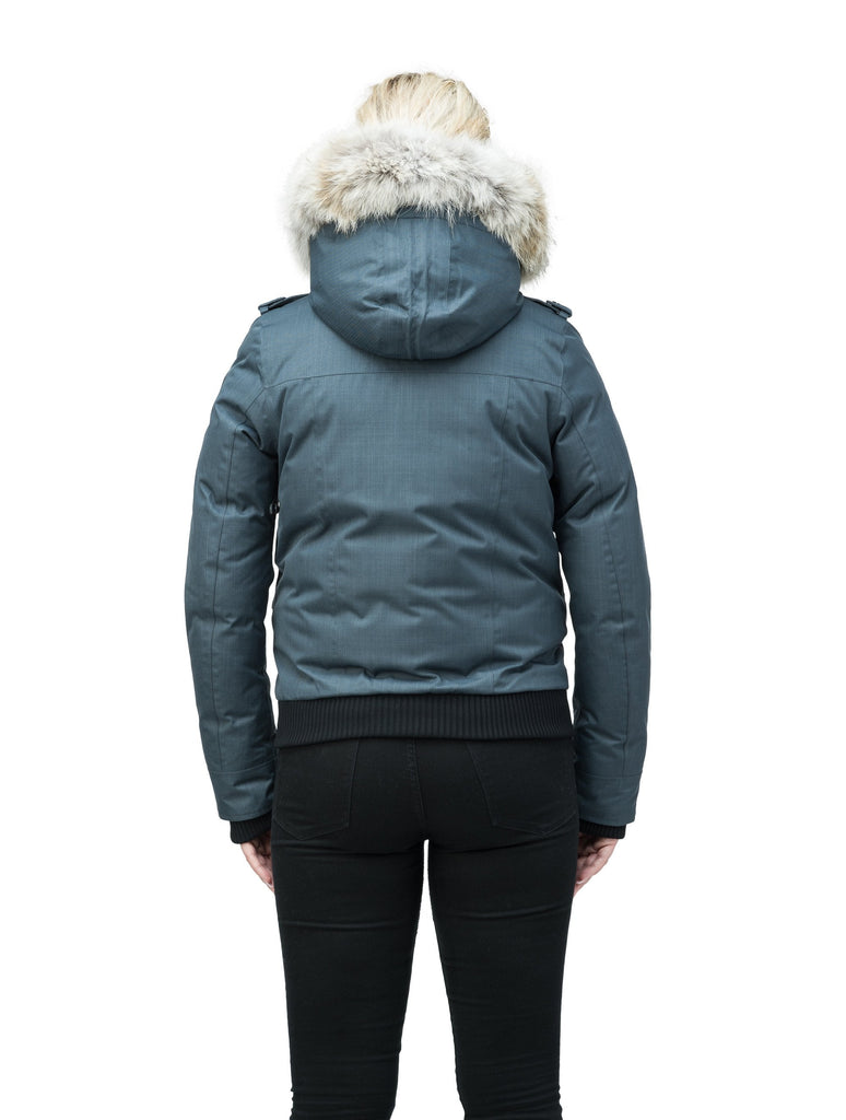 Women's bomber style down filled jacket with a removable hood and fur trim in CH Balsam, CH Black, CH Navy, or CH Steel Grey