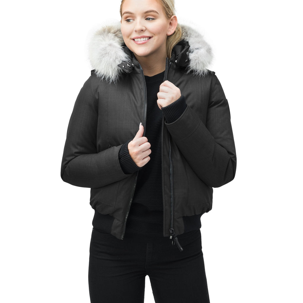 Women's bomber style down filled jacket with a removable hood and fur trim in CH Black