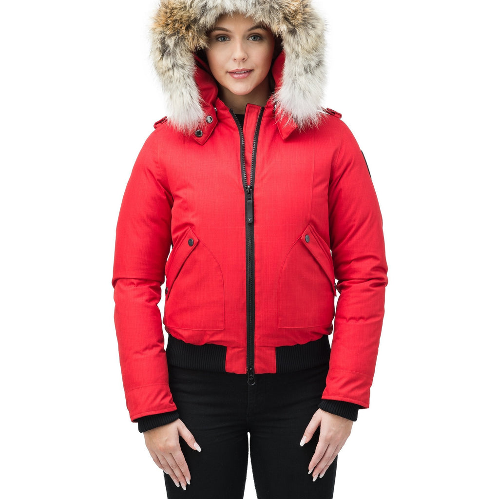 Women's bomber style down filled jacket with a removable hood and fur trim in CH Red