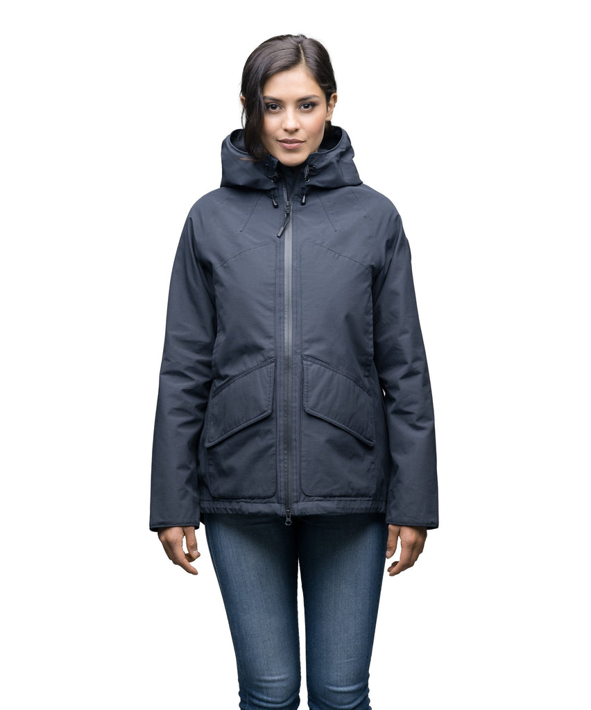 Women's hooded rain jacket with high low hem in Navy