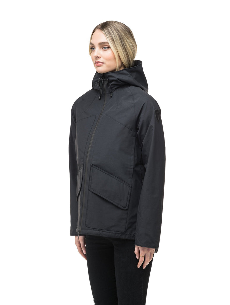 Women's hooded rain jacket with high low hem in Black