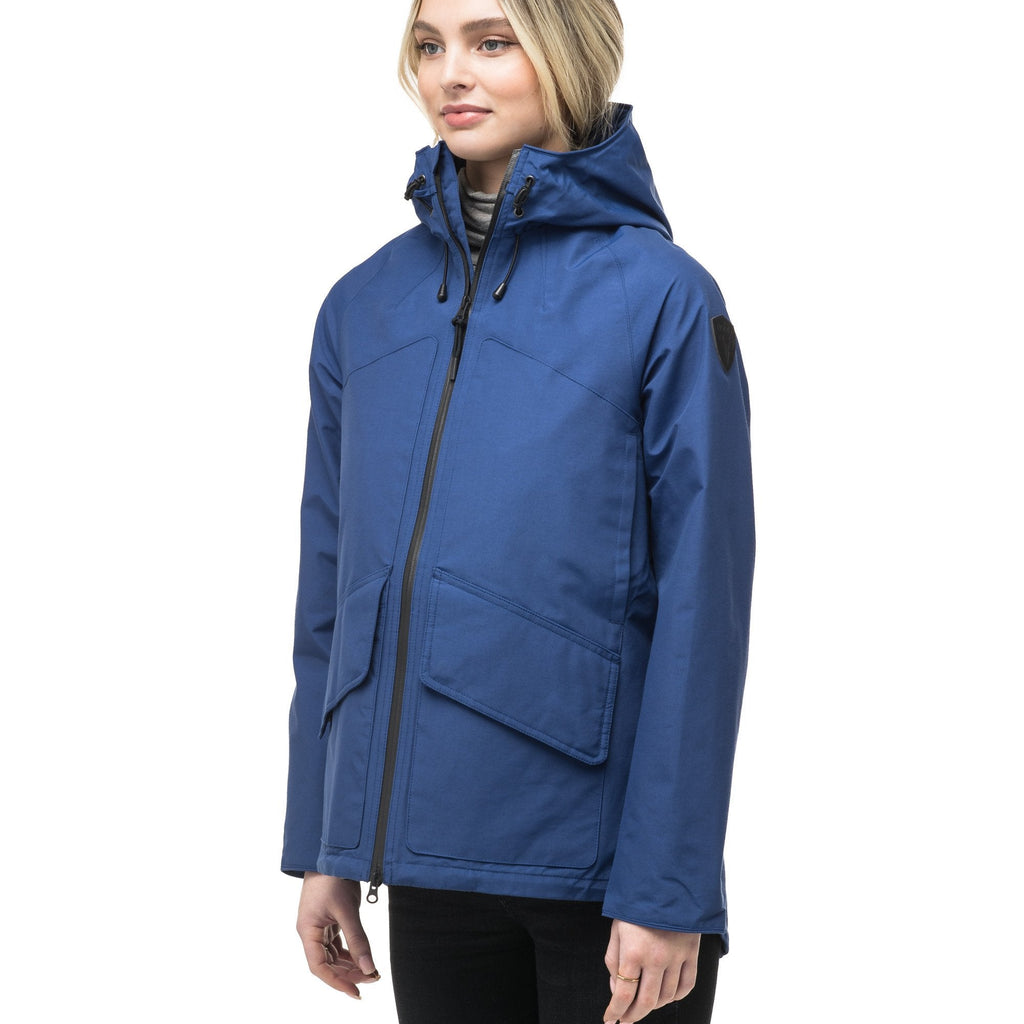 Women's hooded rain jacket with high low hem in Royal