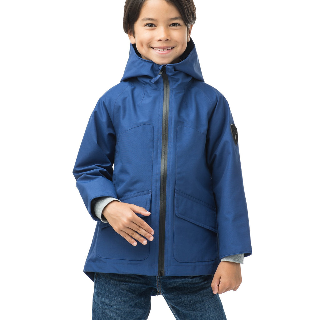 Kid's hip length fishtail rain jacket with hood in Royal