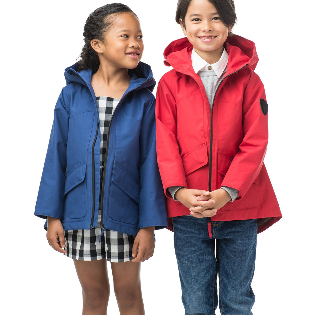 Kid's hip length fishtail rain jacket with hood in Royal, or Red