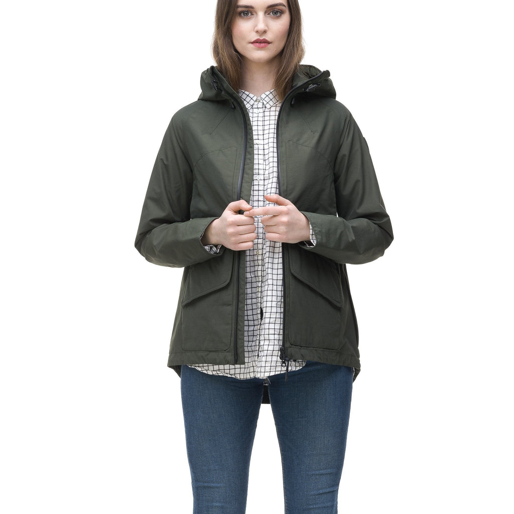 Women's hooded rain jacket with high low hem in Dark Forest