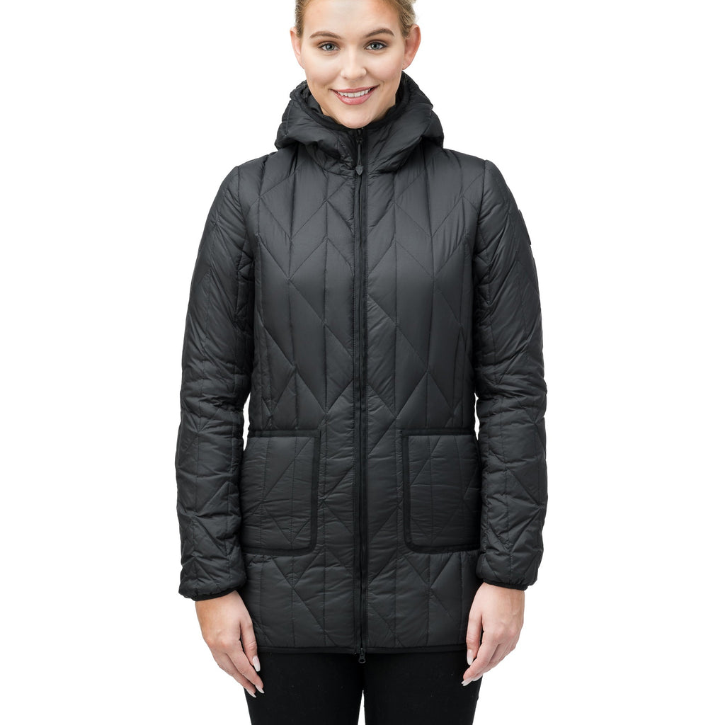 Women's down filled lightweight jacket with fishbone quilting and mid thigh silhouette in Black, or Navy