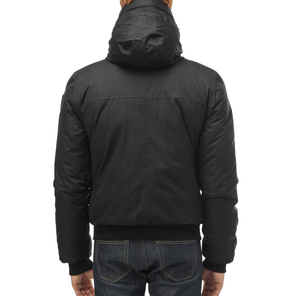 Men's classic down bomber with two patch pockets and a right shoulder storm flap in CH Black