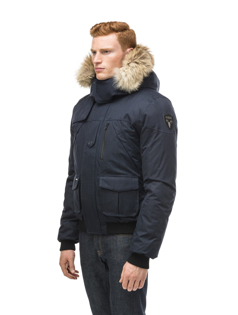 Men's classic down bomber with two patch pockets and a right shoulder storm flap in CH Navy