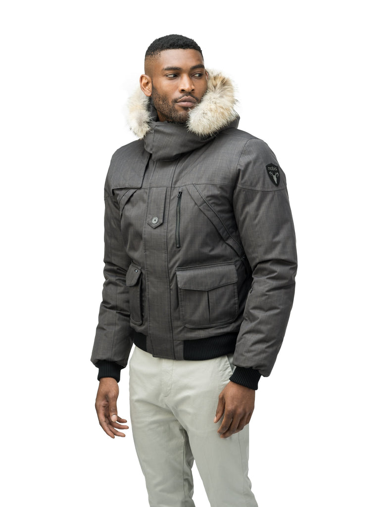 Men's classic down bomber with two patch pockets and a right shoulder storm flap in CH Steel Grey