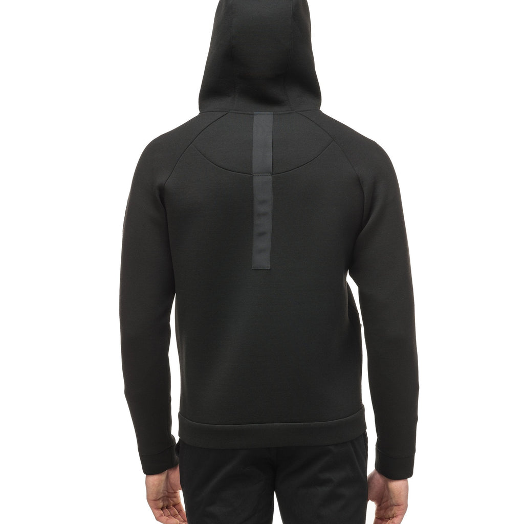 Men's premium rayon polyamide bonded jersey fabrication hoodie with exposed zipper in Black