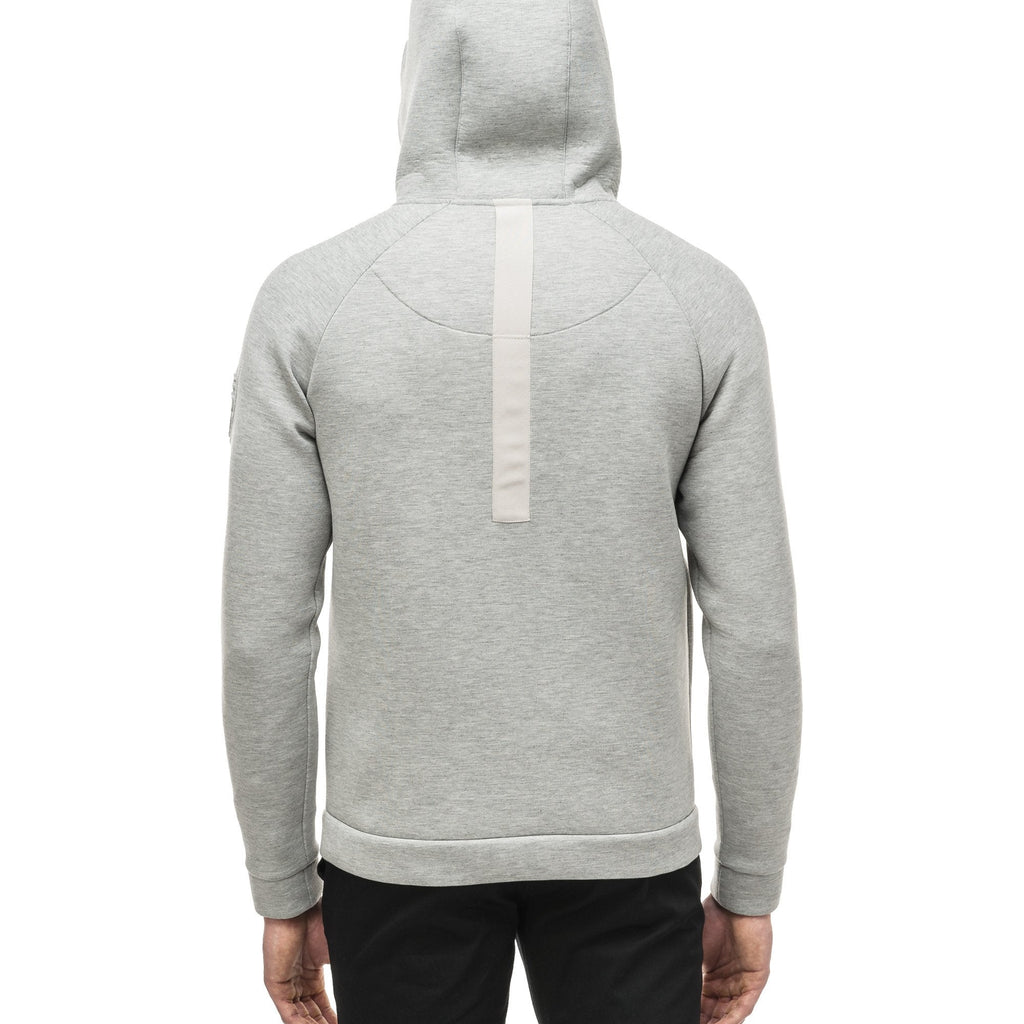 Men's premium rayon polyamide bonded jersey fabrication hoodie with exposed zipper in Grey Melange