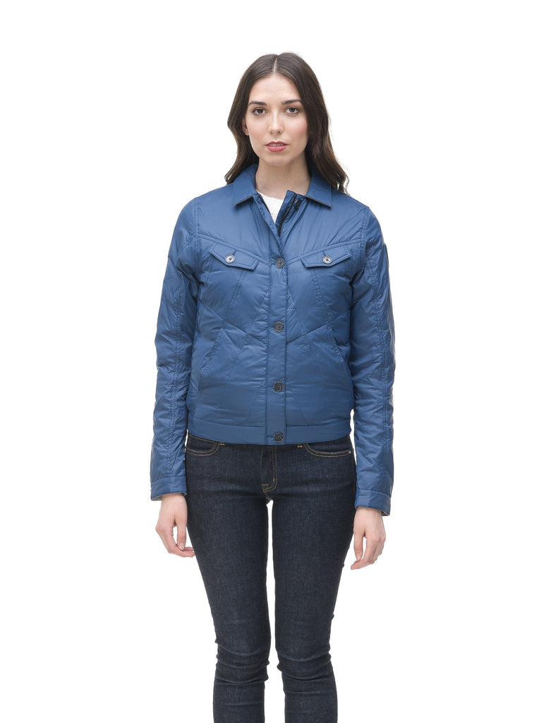 Lightweight cropped women's jacket in Denim Blue