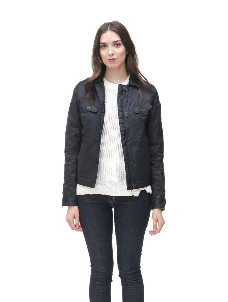 Lightweight cropped women's jacket in Black