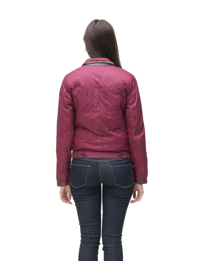 Lightweight cropped women's jacket in Berry, Denim Blue or Black