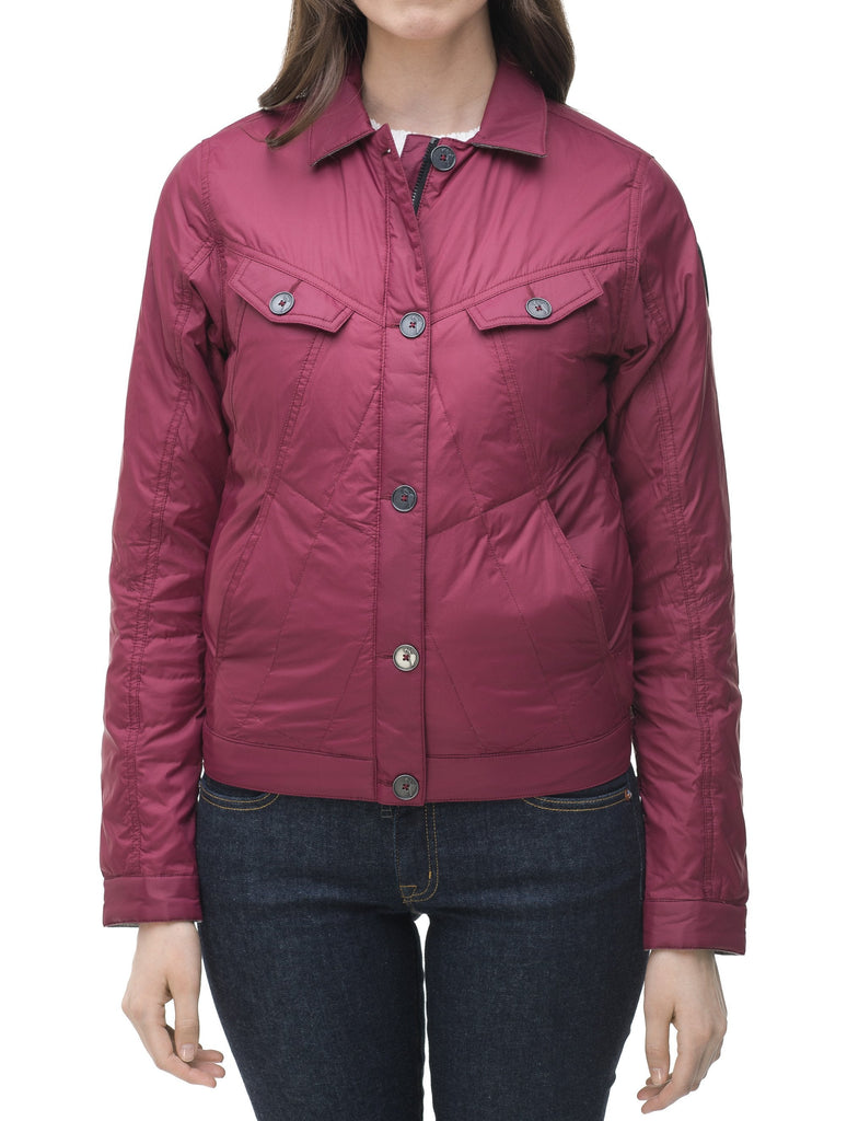 Lightweight cropped women's jacket in Berry