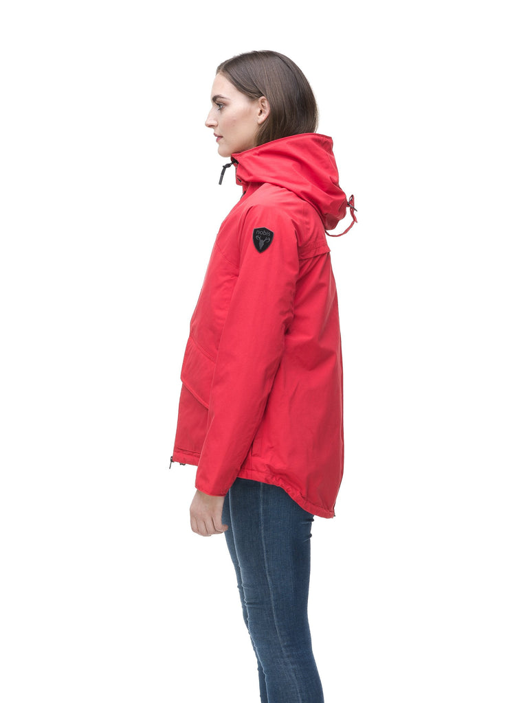 Women's hooded rain jacket with high low hem in Red