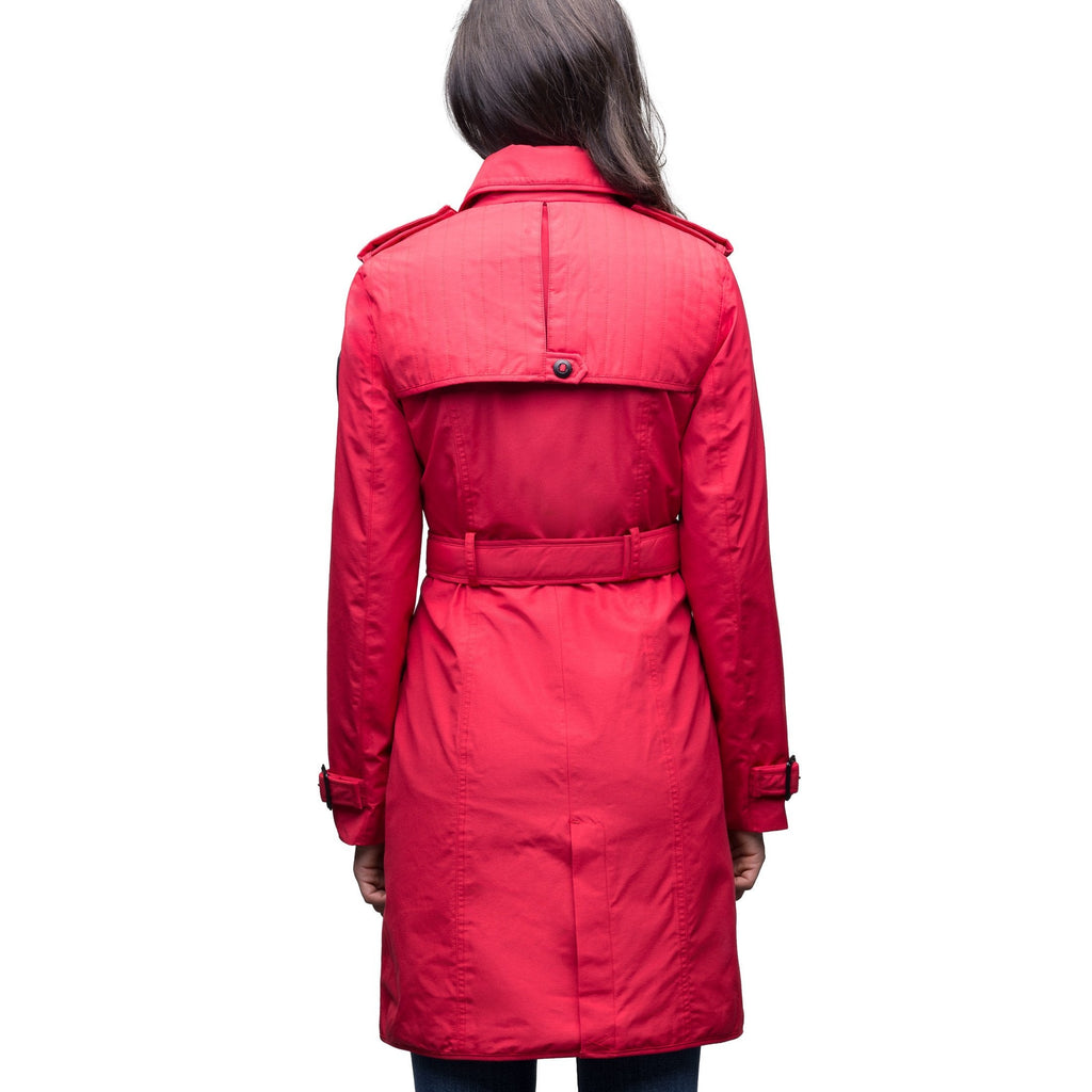 Women's classic trench coat that falls just above the knee in Red