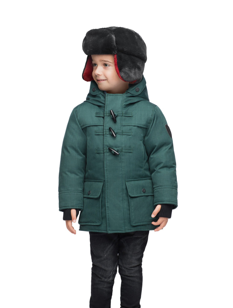 Kid's thigh high down coat with toggle closures in CH Forest