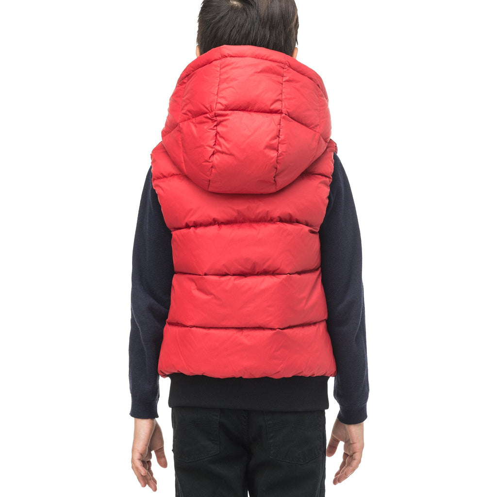 Sleeveless down filled kids vest with a hood and contrast zipper details in Vermillion