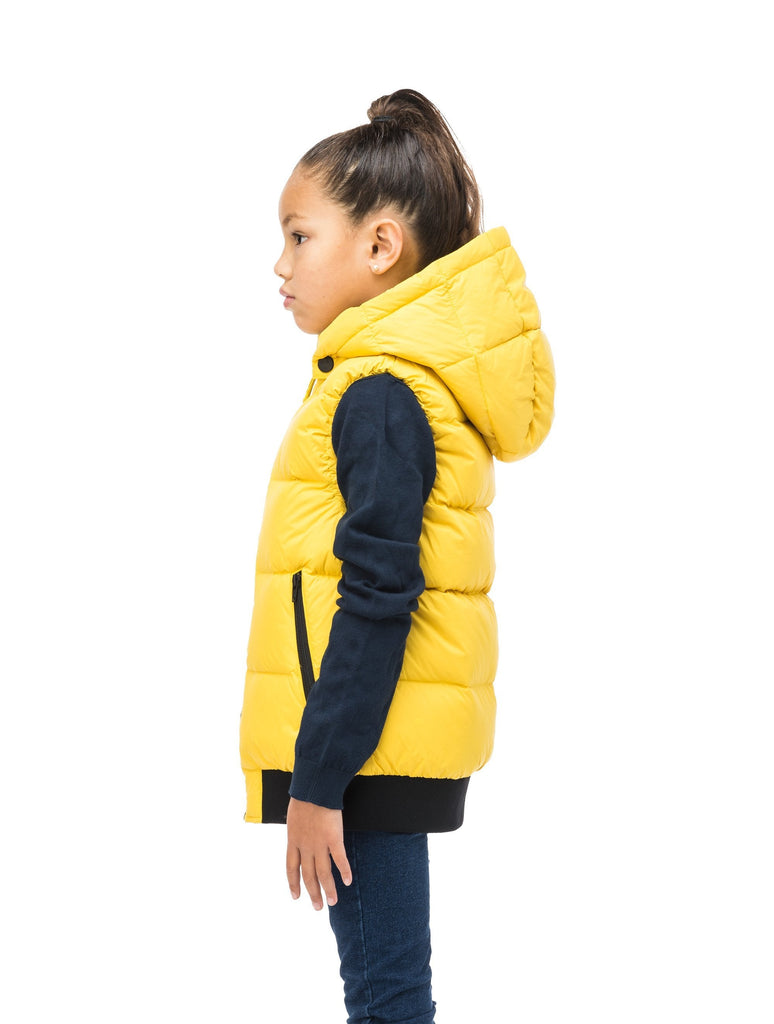 Sleeveless down filled kids vest with a hood and contrast zipper details in yellow Citron