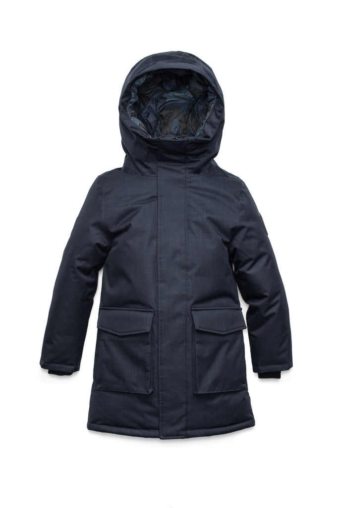 Kids' thigh length down-filled parka with non-removable hood and removable coyote fur trim in Navy