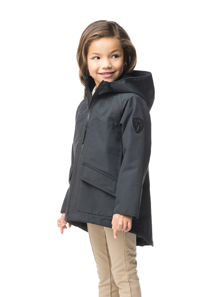 Kid's hip length fishtail rain jacket with hood in Black