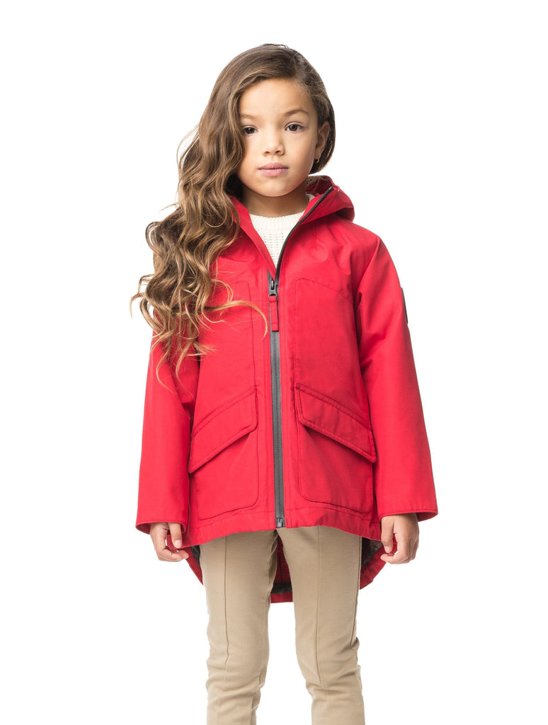 Kid's hip length fishtail rain jacket with hood in Red