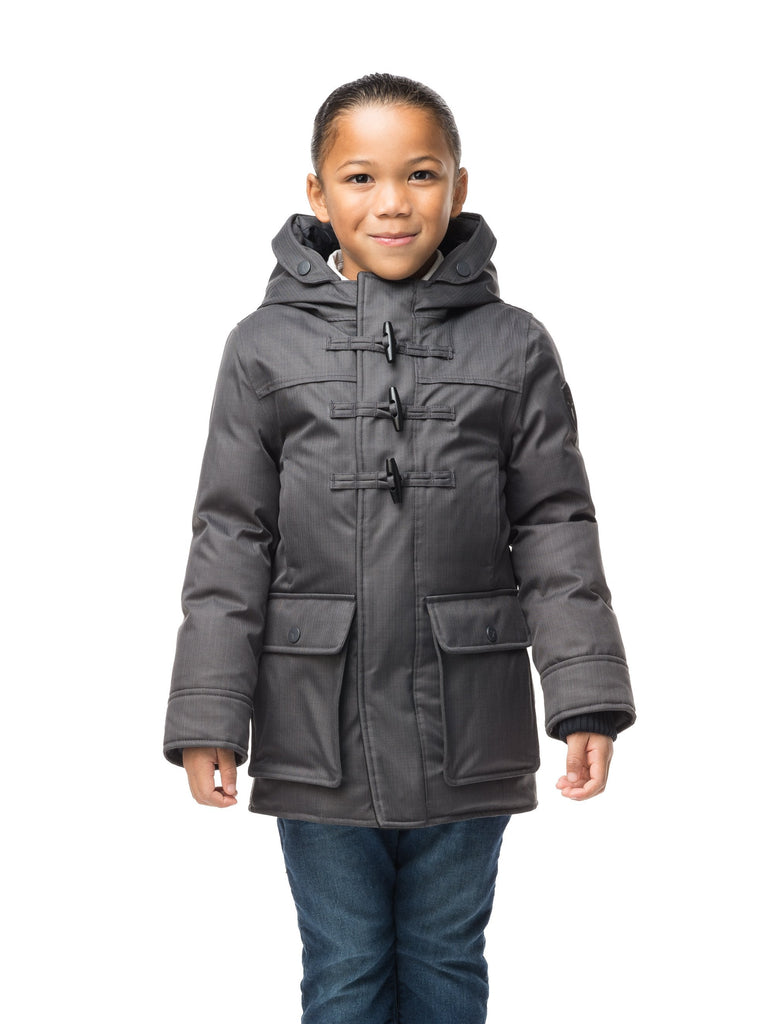Kid's thigh high down coat with toggle closures in CH Steel Grey