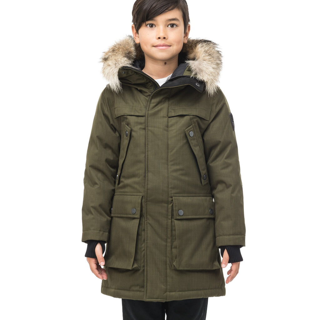 The best kid's down filled parka that's machine washable, waterproof, windproof and breathable in CH Fatigue