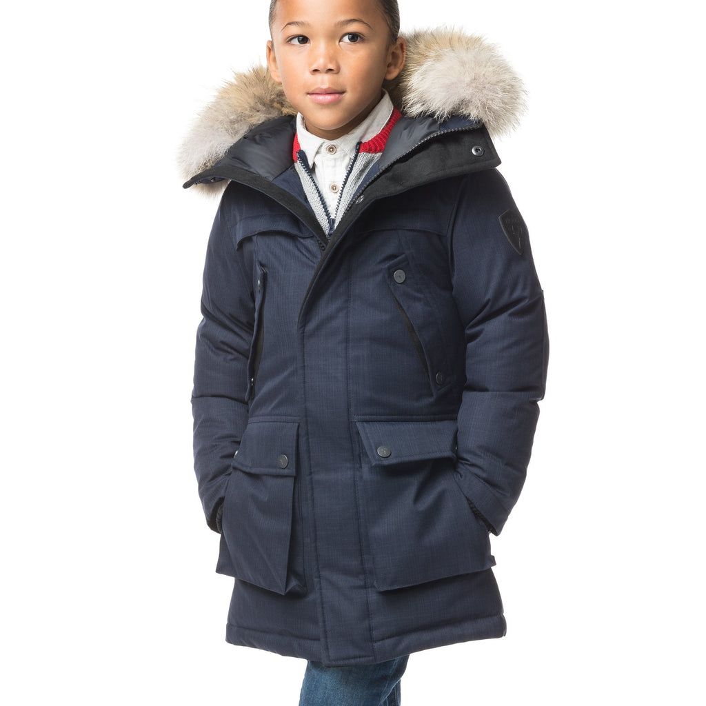 The best kid's down filled parka that's machine washable, waterproof, windproof and breathable in CH Navy