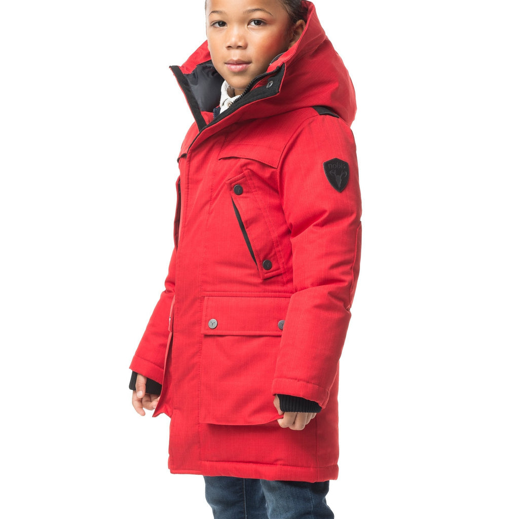 The best kid's down filled parka that's machine washable, waterproof, windproof and breathable in CH Red