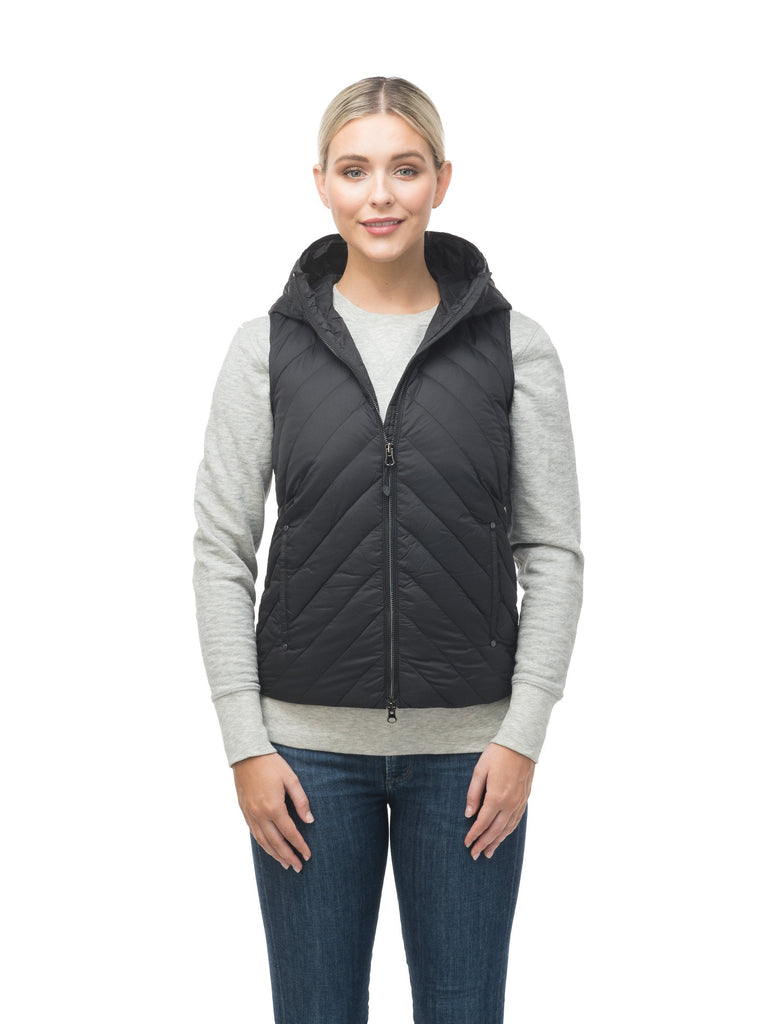 Women's down filled vest with diagonal quilting pattern throughout in Black