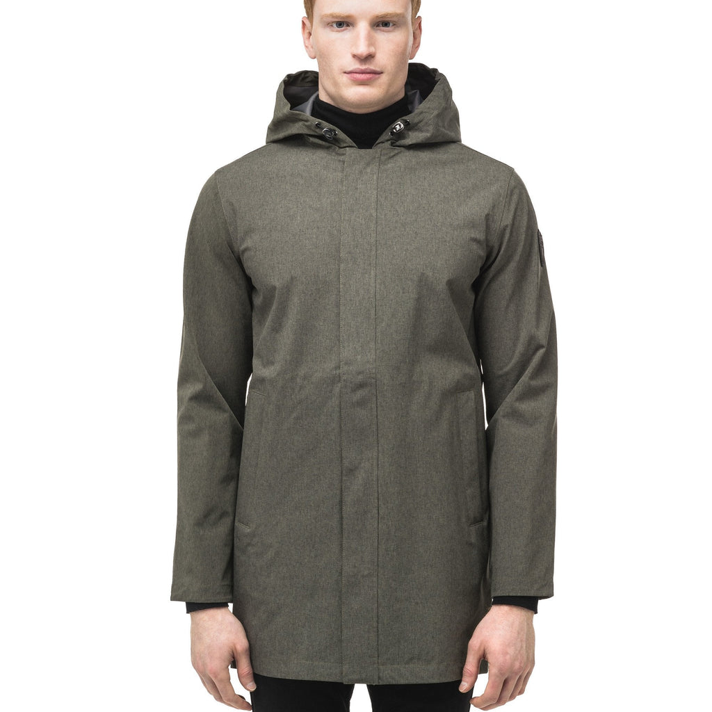 Men's thigh length rain coat with hood in Army Green