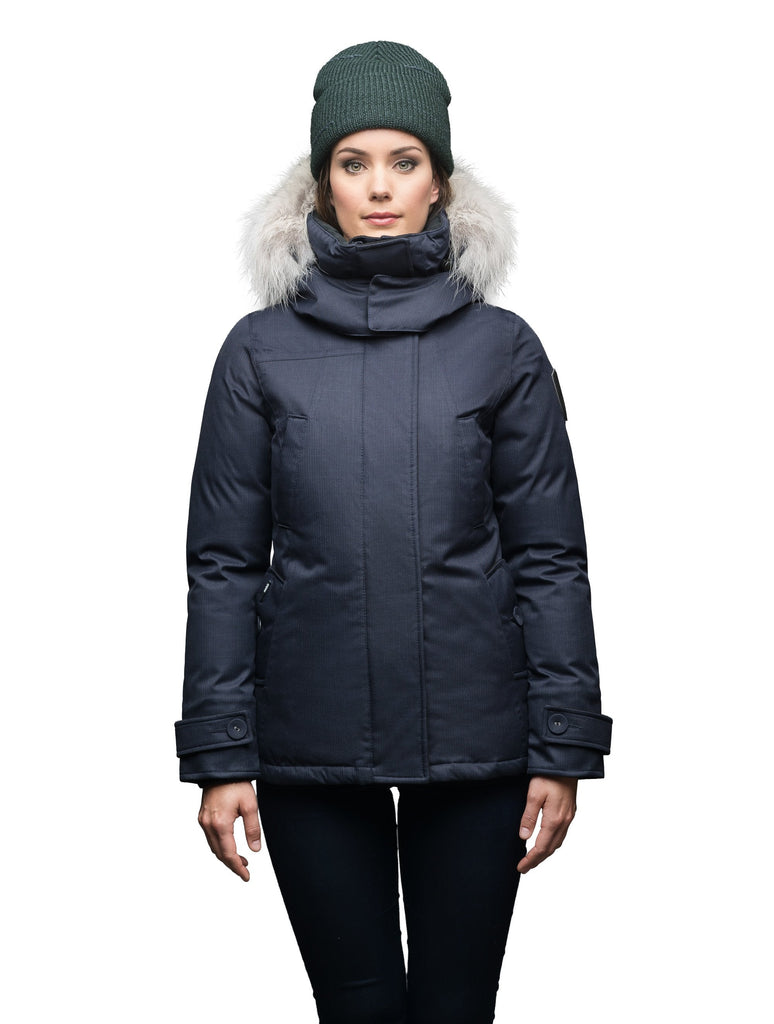 Women's down filled waist length parka with removable fur trim and removable hood in CH Navy