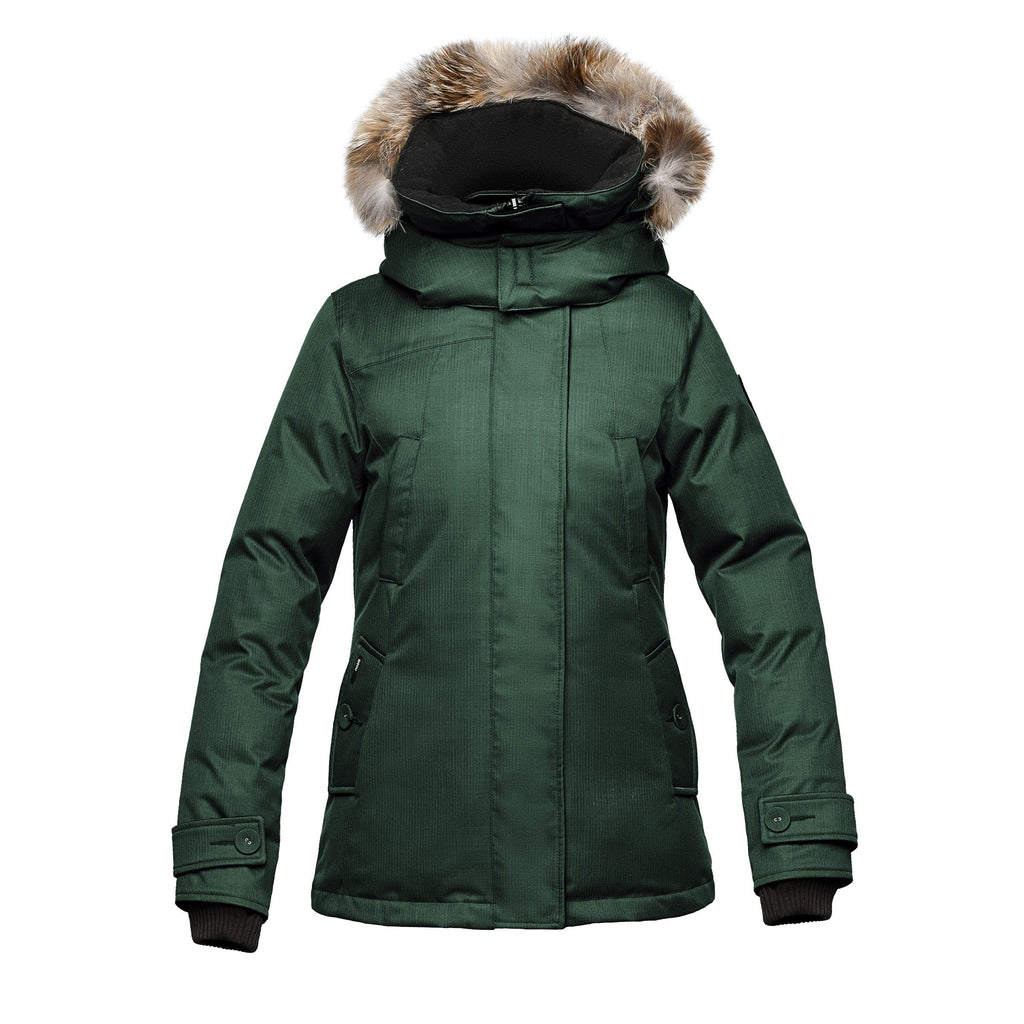 Women's down filled waist length parka with removable fur trim and removable hood in CH Forest