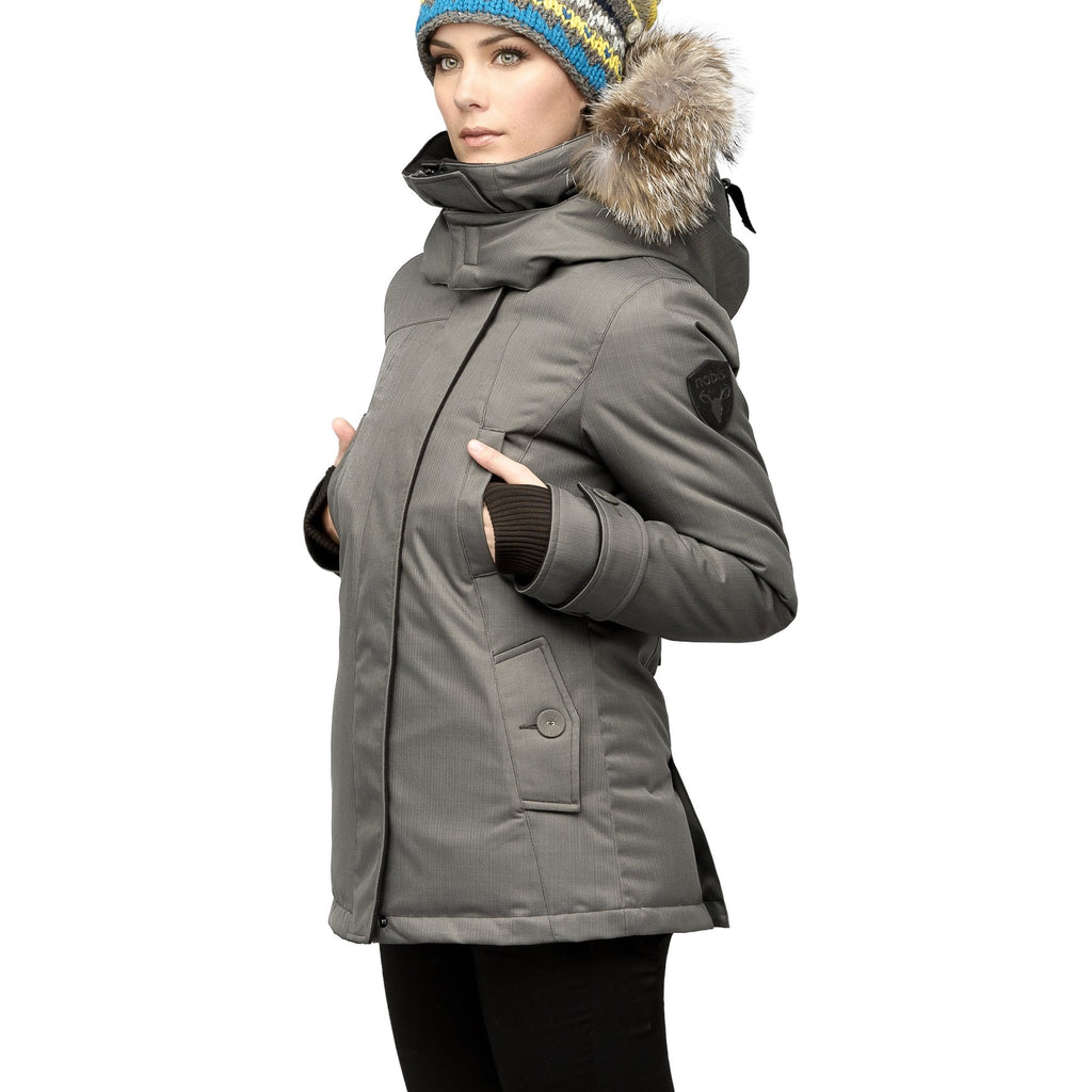 Women's down filled waist length parka with removable fur trim and removable hood in CH Steel Grey