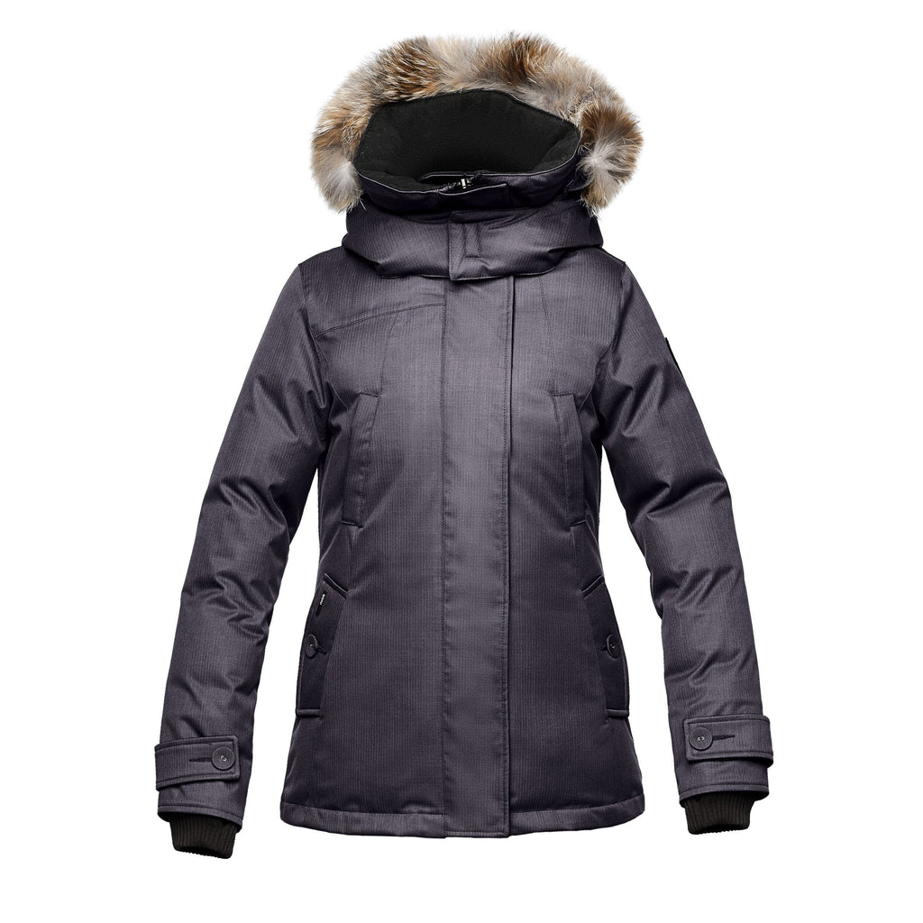 Women's down filled waist length parka with removable fur trim and removable hood in CH Purple