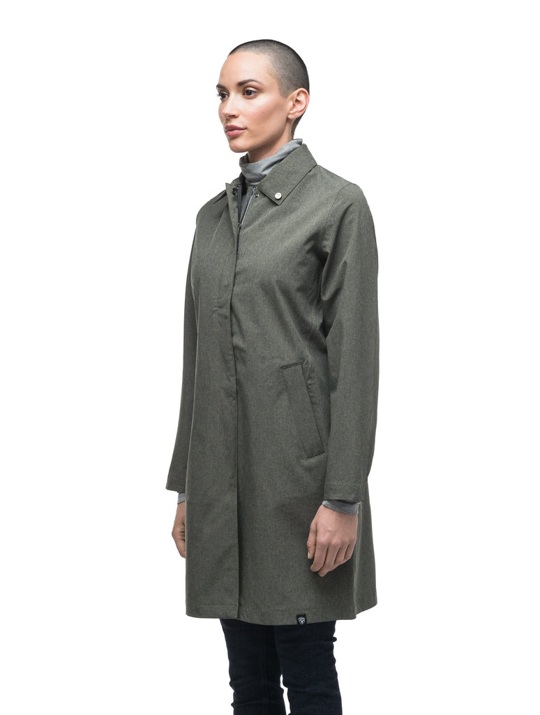 Women's thigh length collared rain jacket in Army Green