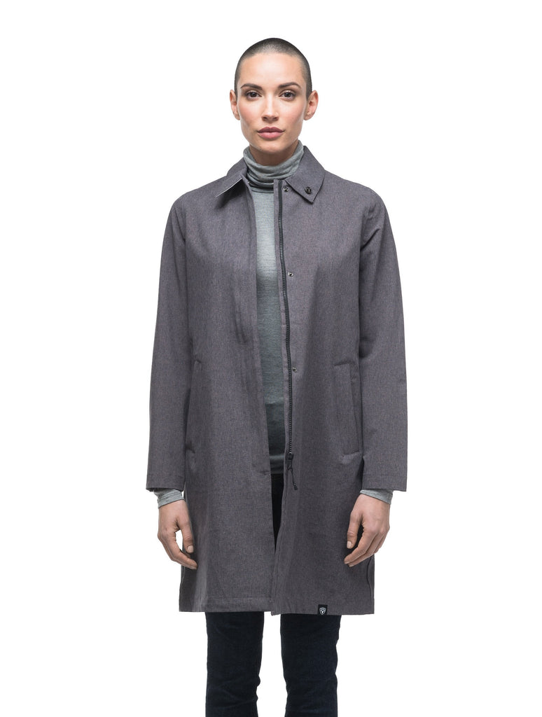 Women's thigh length collared rain jacket in Dark Grey