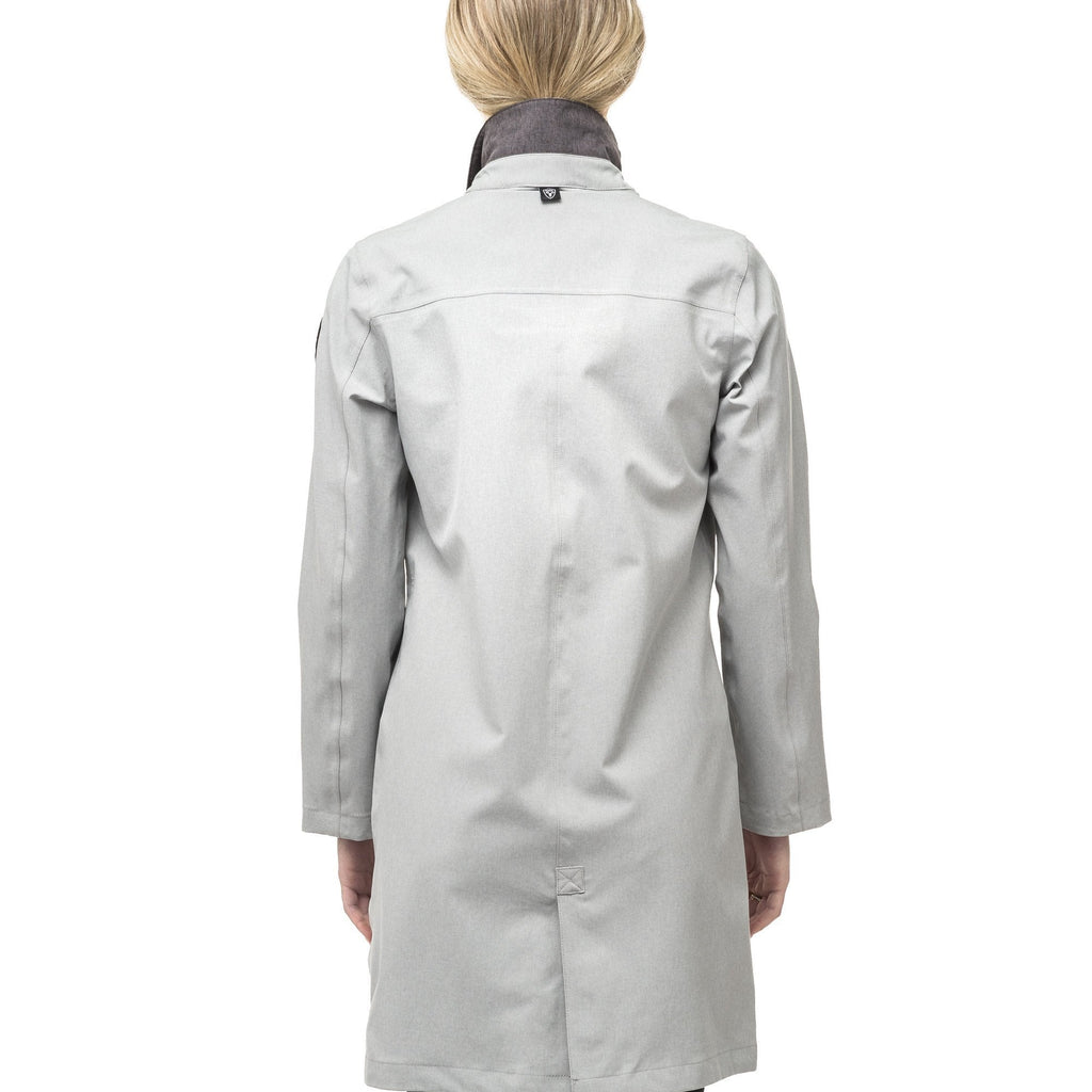 Women's thigh length collared rain jacket in Light Grey