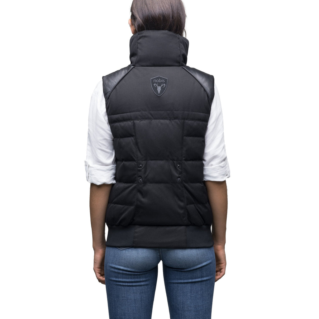 Women's puffer vest with quilting detail in CH Black
